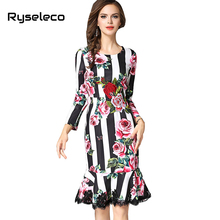 Women High Fashion 3D Rose Embroidery Floral Prints Eyelash Lace Patchwork Ruffle Midi Mermaid Casual Party Dresses Slim Trumpet
