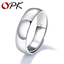 OPK Classic 925 Sterling Silver Rings For Men Simple & Smooth Design Resizeable 3 Width Options Never Fade Open Band SJ003