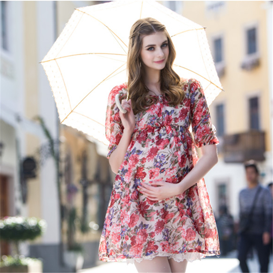 Spring Maternity Dresses Long Plus Size Clothes For Pregnant 2017 Elegant Floral Summer Women Clothes Dresses Cotton 70R0160<br><br>Aliexpress
