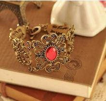 Vintage Hollow-Out Flower Red Stone Bracelet free shipping C576