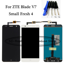 Black/White LCD+TP For ZTE Small Fresh 4 Blade V7 LTE LCD Display + Touch Screen Digitizer Assembly Replacement + Free Tools(China)