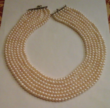 Beautiful NEW 7 strands south sea round white pearl necklace 17-25inch(China)