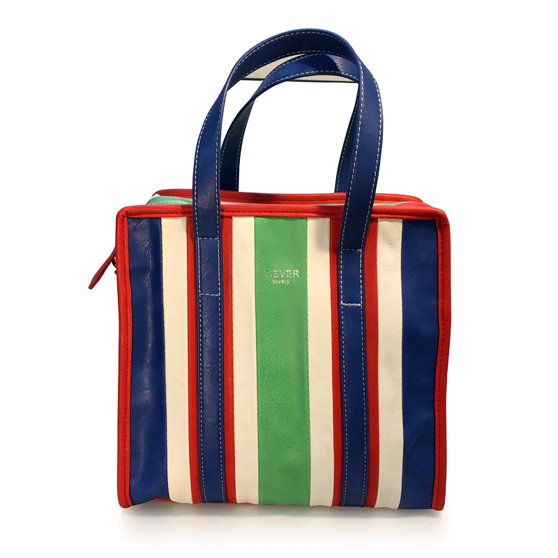 Xianjian New Design Rainbow Striped Patchwork Shopping Tote Handbag European American Lady Bag <br>