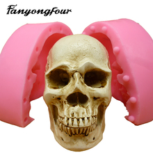 3D Skull Heads fondant cake mold silicone mold chocolate mold soap soap candles tool free shipping