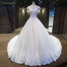Real Photo O-Neck Bridal Gown Strapless Lace Up beaded Lace Royal Train Wedding Dresses Custom Made Robe De Mariage WD0211
