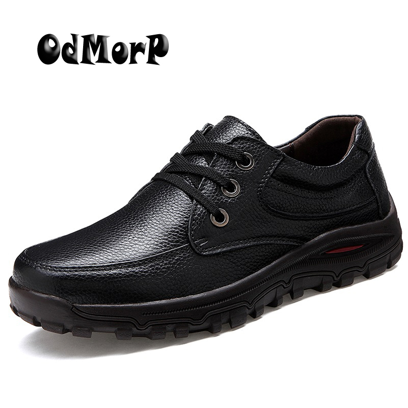 ODMORP Big Size Genuine Leather Men Shoes Black Formal Business Men Shoes Lace Up High Quality Male Footwear 38-48<br>