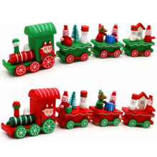 New Year Christmas Decorations for Home 2017 Natal Navidad Ornaments Wooden Little Train Gifts for Children(China)