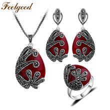 Feelgood Unique Silver Color Antique Jewellery Set Red Resin And Black Crystal Vintage Jewelry Sets For Women Wedding Party Gift