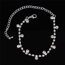 Lovely 1Piece Silver Color Rhinestone Anklet Simple Design Foot Chain Jewelry Gift For Women Female(China)