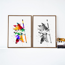 Dragon Ball SON GOKU Cute Black and White Cartoon Art Poster Image Wall Painting Canvas Children Bedroom Home Decoration MO031