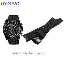 Zhuolei Quality Silicone Watchband For Mens Black Replacement Silicone Watch bands For CASIO EF-523(China)