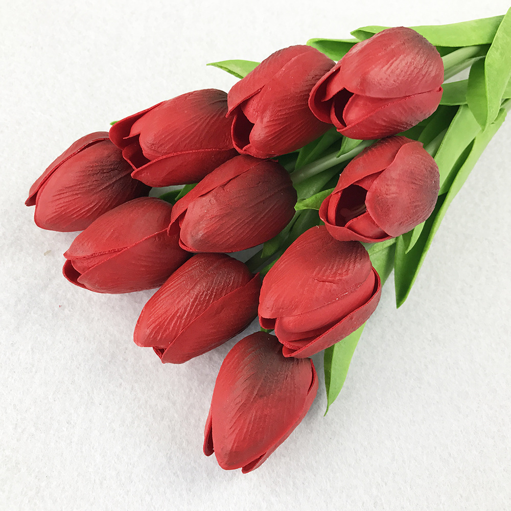 10PcsBag PU Holland Mini Tulip Artificial Flower Real Touch Tulip for Wedding,Home,Hotel,Party Decoration Valentine's Day Gift (13)