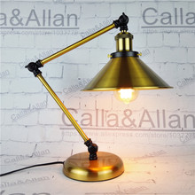 Brass finished desk light with switch and plug study lighting E26/E27 UL/CE bronze wall lamp for study bedroom hotel decoration
