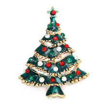New Casual Rhinestone Christmas Tree Charms Pendants Pins Brooch Women Girls Brooches Pins Decoration Xmas Merry Xmas Gifts(China)