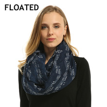 Popular Lady Navy Music Noted Sign Infinity Voile Scarf Women Loop Scarves Female Sing Shawl Head Scarf Wrap Girl Accessories(China)