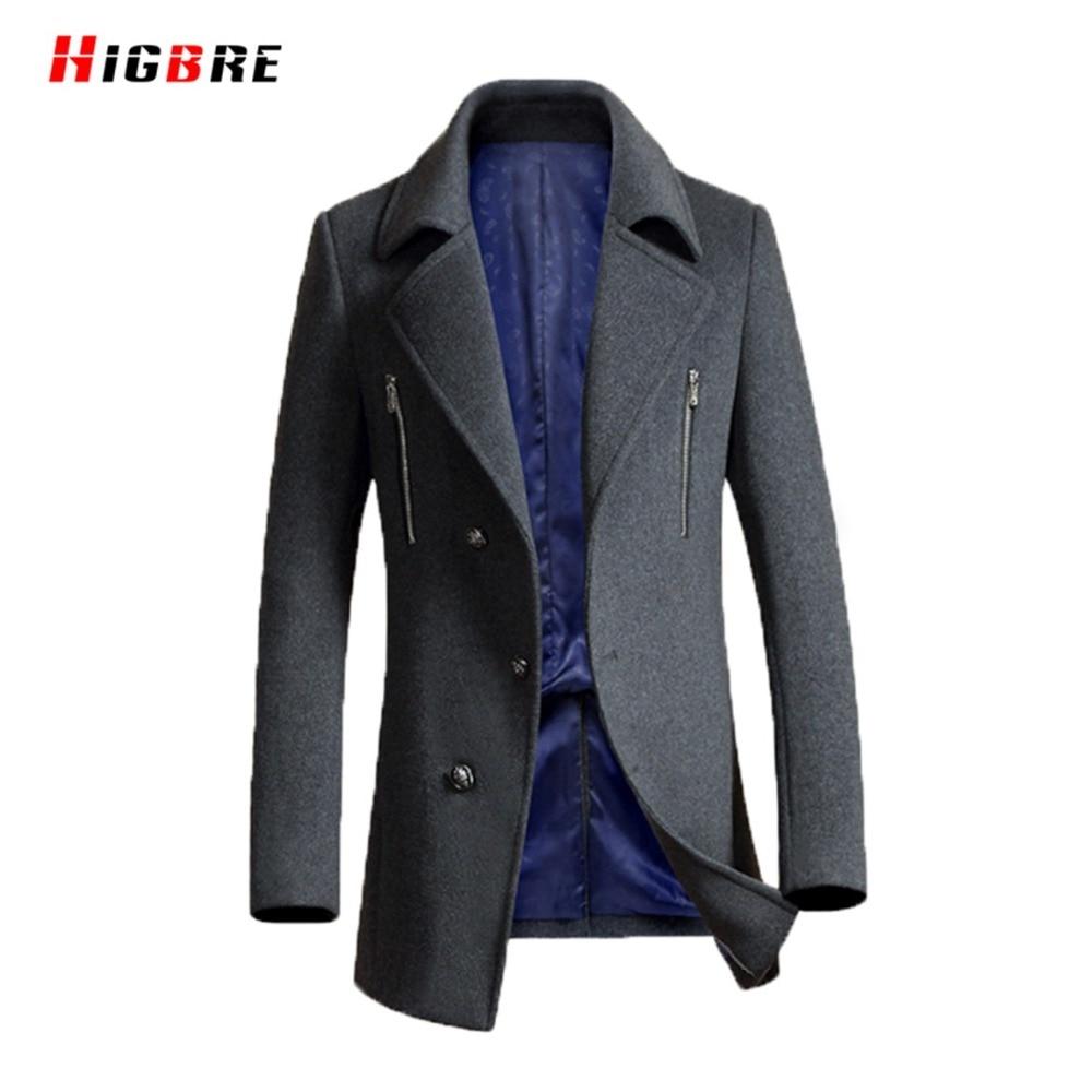 Winter Slim Fit Wool Coat Men Overcoat Long Casual Black Men Woolen Coat Autumn Single-breasted Windbreaker Manteau Homme Palto