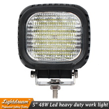 5inch 12V 24V 48W off road Flood Spot Rounded rectangle LED Work Light Lamp for Truck Vehicle Driving Boat Marine Car light x1pc(China)