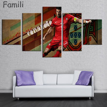 5 Piece Cristiano Ronaldo Football Picture Painting on Canvas for Wall Art Home Decoration Living Room Canvas Print Painting