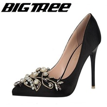 BIGTREE New Spring Summer Elegant Pumps Sexy High-heeled Shoes Satin Banquet Wedding Party Shoes Pearl Crystal Pointed Stiletto