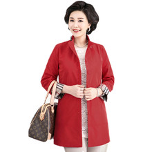 Mother Autumn Plus Size 5Xl Coat Middle-aged Women's Trench Clothes Long-sleeved Large Size Plaid Outerwear Red Tops For Female(China)
