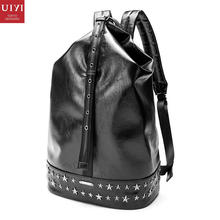 UIYI Brand Original Design Casual PVC Leather Backpack Rivet Trvel Black Knapsack Women Men School Day Laptop Bag 160010