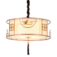 modern Chinese BLACK gold pendant lamps study the living room bedroom retro China wind restaurant round pendant light ZA923444(China)