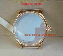 Sapphire crystal parnis 44MM 316 stainless steel watch case Pumpkin shaped crown  PVD Rose gold Watchcase wholesale 11