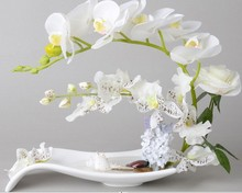 Artificial phalaenopsis Orchid Rose Flower in Ceramic Pot Vase Wedding Home Table Decor White Green F313
