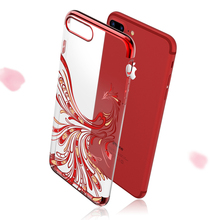 Luxury Red Phoenix soft plating TPU Diamond Case Cover For iPhone 6 6plus 6s Plus 7 7plus With Crystals Rhinestone Phone Cases(China)