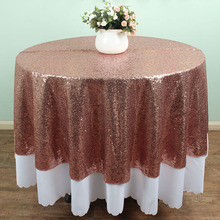 ROSE GOLD - 180cm Round Sparkly Sequin TableCloths Banquet Table linens Wedding Table overlay Decoration(China)