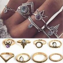 r056 Europe and the United States Retro Gothic Punk Crown Crystal Geometric Set Rings Jewelry 8pcs/lot