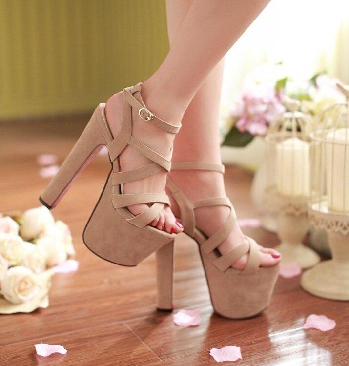 2015, sexy high-heeled shoes thick heel platform sandals female ruslana korshunova<br><br>Aliexpress