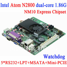 POS Wake on LAN PXE Queue industrial motherboard mini itx DC12V 6COM with Intel Atom N2800 dual-core processor 1.86G RS232 LPT