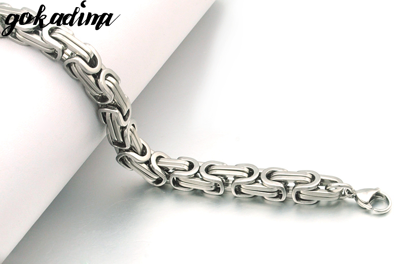 Gokadima New Product, Silver Color Stainless Steel bracelets Link Byzantine Chain Bracelet For MENS Jewelry Fashion Good quality 5