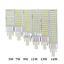 Lampada LED Bulbs 5W 7W 9W 11W 13W 14W G24 E27 G23 Lamp SMD 5050 Spotlight 180 Degree AC85-265V Horizontal Plug Light CE RoHS(China)