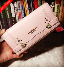 Clearance Sale Fashion Hello Kitty Designer Genuine Leather 3 Folds Neceser Feminina Sac Women Coin Card Wallet Purse 19*11*3cm