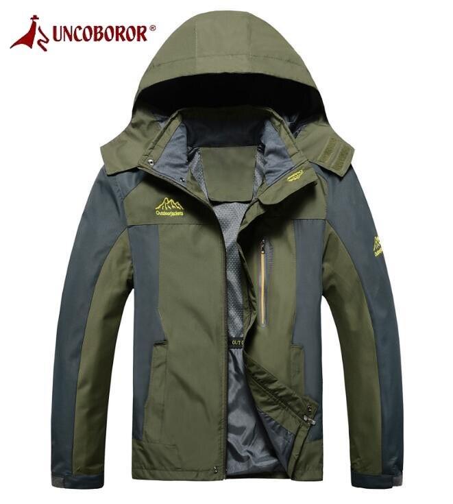 UNCO&amp;BOROR Plus Size Spring Autumn Outwear Hoodie Windbreaker Waterproof Jackets Men Hiking Climbing Mountain Sport Jacket<br>