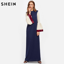 Buy SHEIN Womens Kaftan Dress Satin Trim Contrast Flare Sleeve Autumn 2017 Color Block Long Sleeve Maxi Dresses for $20.97 in AliExpress store