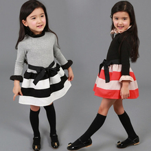 Autumn Winter Vestidos Striped Dress For Baby Girl Peter Pan Collar Princess Children Bow Stripe Dress Baby Clothing Long Sleeve