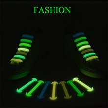 14 pcs/pack Silicone Light Shoe Lace Unisex Elastic No Tie Shoeslace 8 colors Luminous Strap Lacet Chaussure Ox horn Shoes lace