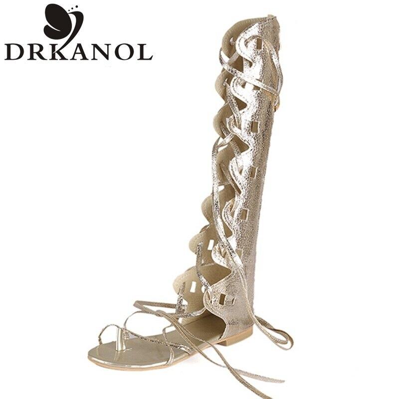 Women Gladiator Sandals Flat Heel Sandalias Mujer Cross Strap Knee High Gladiator Sandals Summer Plus Size Women Shoes 35-43<br><br>Aliexpress