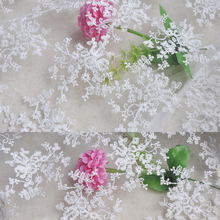 1 meter/lot Width 150cm Novelty DIY White embroidery lace Fabric/mesh cotton embroidery clothes fabric/Dress Fabrics 155302(China)