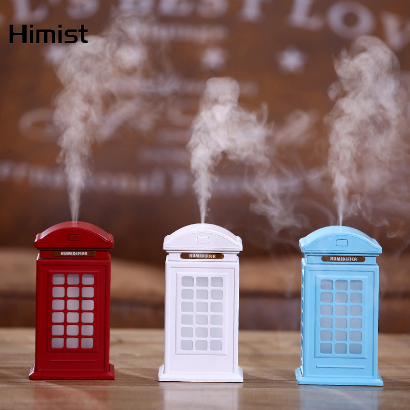 Red USB Ultrasonic Cool Mist Humidifier Telephone Booth Design Mini Cute Air Humidifier with 7 Color Gradual Change Night Lights