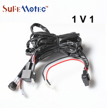SUFE Universal Wire Harness Relay Kit 3M For Led Light Bar 300W Work Lamps With On Off Switch 12V 40A Driving Lights Offroad SUV