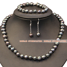Party And Graceful Mother Gift 9-10mm Natural Gray Black Freshwater Pearl Jewelry Set Hot Sale(Necklace, Bracelet & Earrings)