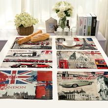 Retro European Style Printing Cotton Linen Western Pad Placemat Insulation Dining Table Mat Bowls Coasters Kitchen Accessories