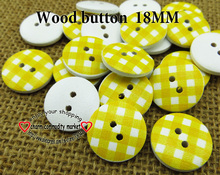 wholesale (100pcs/lot)yellow stripe wooden buttons for baby hat 18MM MCB-747-1(China)