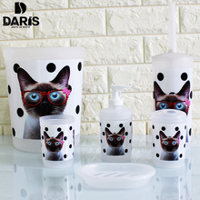 SDARISB 6PCS Cartoon Cat Bathroom Accessory Soap Dish Dispenser Bottle Toothbrush Holder Set Home Bathroom Products Wash Set(China)