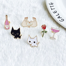 LNRRABC Women Girls Cartoon Pretty Cat Wine Bottle Rose Flower Hand Metal Brooch Pins Corsage Gift