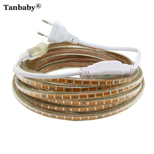 Tanbaby IP67 Waterproof SMD5050 2835 3014 220V led strip flexible light Tape 60&120 LEDs/M Outdoor Garden lighting EU Plug Power